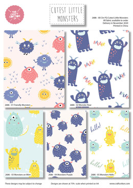 Craft Cotton Company Cutest Little Monsters Fat Quarter Bundle