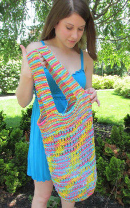 Double Handled Market Bag in Plymouth Yarn Fantasy Naturale - F580 - Downloadable PDF