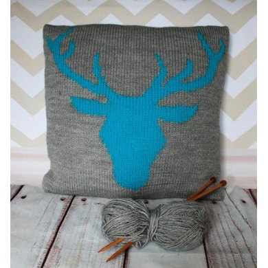 Beginner Stag Head Cushion Cover Knitting pattern by Ruby and the Foxes
