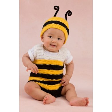 Little Baby Bee Playsuit & Hat in Red Heart Anne Geddes Baby - LW3348