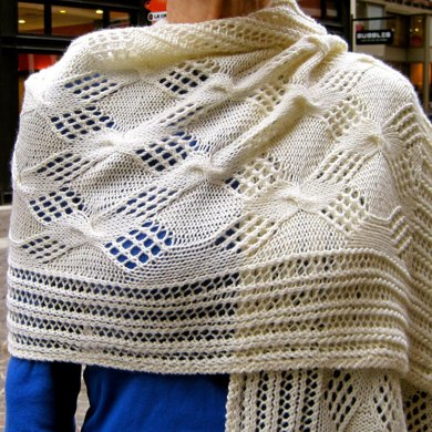 Cable Lace Checkerboard Wrap Knitting Pattern By Linda Lehman