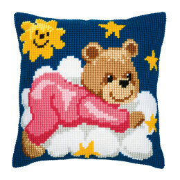 Vervaco Pink Nightime Bear Cushion Front Chunky Cross Stitch Kit