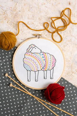 Hawthorn Handmade Sheep Contemporary Embroidery Kit - 13.5 x 12cm