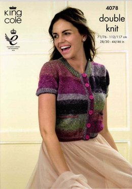 Cardigans With Cap and Long Sleeves in King Cole Shine DK - 4078