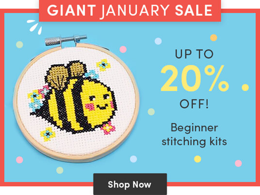 Up to 20 percent off beginner stitching kits!