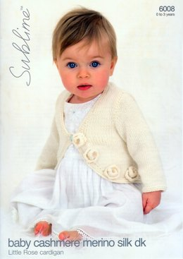 Little Rose Cardigan in Sublime Baby Cashmere Merino Silk DK - 6008