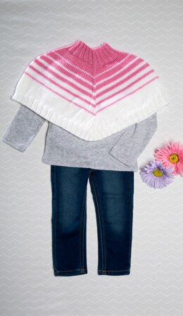 Baby Striped Poncho in Premier Yarns Everyday Baby - PEBSP002 - Downloadable PDF