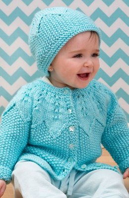 Star Bright Baby Cardigan and Hat in Red Heart Soft Baby Steps Solids - LW3596