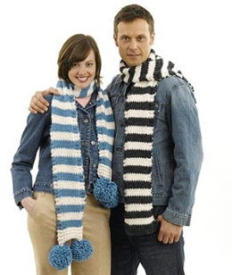 Man's Striped Scarf in Lion Brand Wool-Ease Thick & Quick - 50254-M