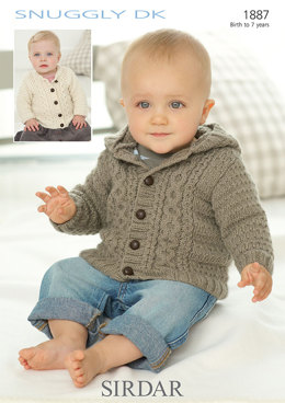 Round Neck and Hooded Jackets in Sirdar Snuggly DK - 1887