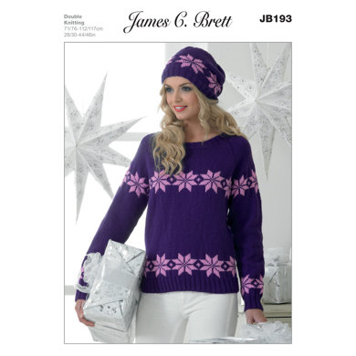 Ladies' Sweater and Hat in James C. Brett Top Value DK - JB193