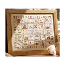 Historical Sampler Company A is for Ark Birth Sampler - Linen