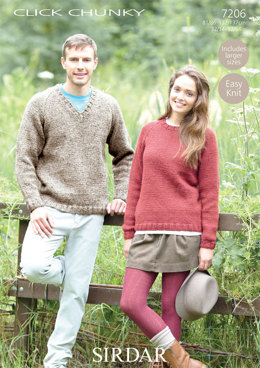 Sweaters in Sirdar Click Chunky - 7206 - Downloadable PDF