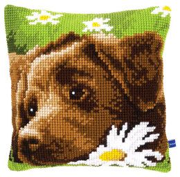 Vervaco Brown Labrador Cushion Front Chunky Cross Stitch Kit