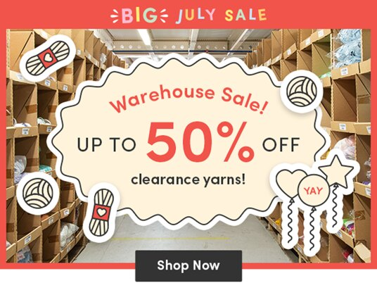 Up to 50 percent off warehouse sale yarns!