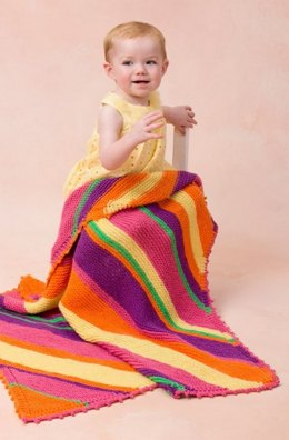 Bright Stripes Blanket in Red Heart Anne Geddes Baby - LW3476