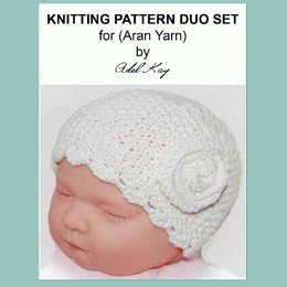 Ida Multi-size Vintage Rose 1930s Style Baby or Reborn Doll Aran Yarn Hat Knitting Pattern by Adel Kay
