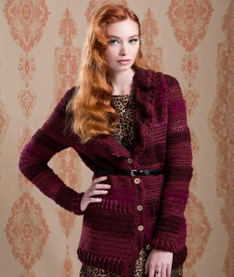 Ruffle Collar Cardigan in Red Heart Boutique Changes - LW3441 - Downloadable PDF