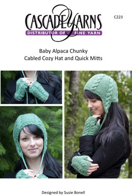 Cabled Cozy Hat & Quick Mitts in Cascade Baby Alpaca Chunky - C223