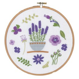 "Vervaco Lavender Embroidery Kit (with hoop) - 20 x 20cm / 8"" x 8"""