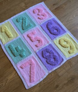 Numbers Squares Baby Blanket Knitting Pattern