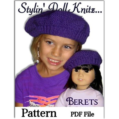 Matching beret, hat pattern for girl's and 18 inch doll. 501