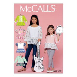 McCall's Children's/Girls' Peplum-Style Tops with Trim Variations M7559 - Sewing Pattern