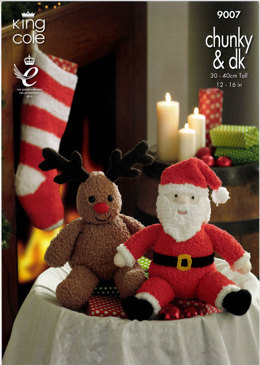 Santa and Rudolph Toys And Stocking in King Cole Cuddles Chunky and Dollymix DK- 9007