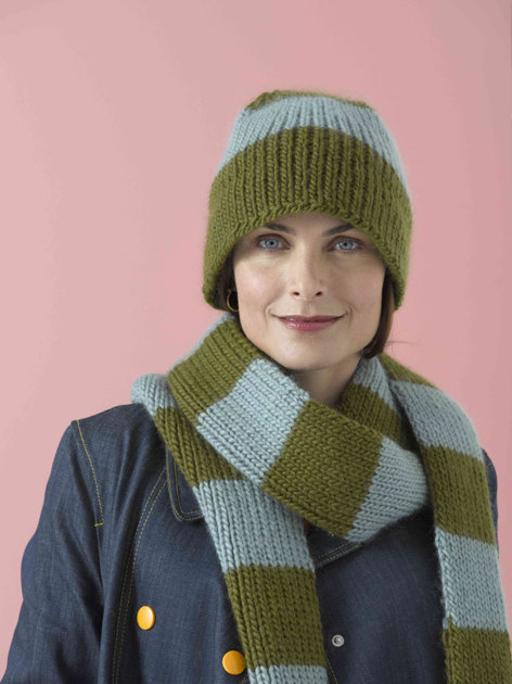 Bleecker Street Hat and Scarf in Lion Brand Alpine Wool - 90177AD Knitting ...