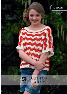 Young Lady Loose Fit 2 Colour Short Sleeved Top in DY Choice Cotton Aran - DYP233 - Downloadable PDF