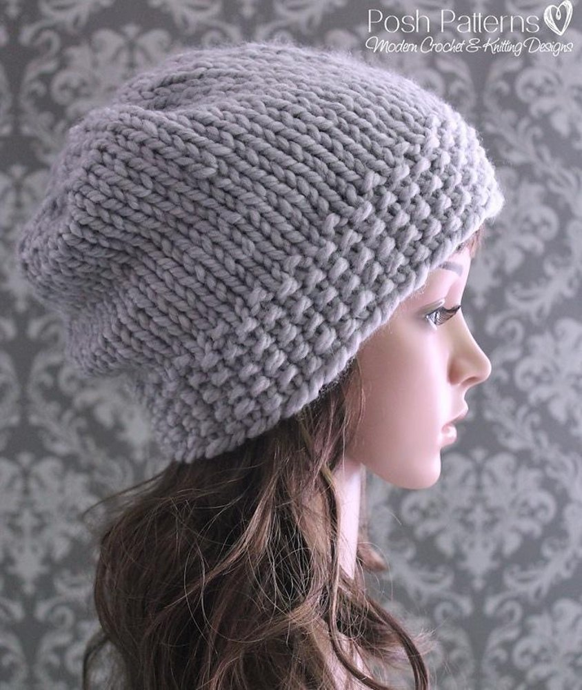 Textured Slouchy Hat Knitting Pattern 362 Knitting pattern ...