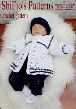 Crochet Pattern Baby Sailor Set UK & USA Terms #17