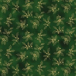 Oddies Textiles Louden Christmas Fabrics - Gold Holly on Green