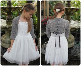 Lace shrug with ribbon