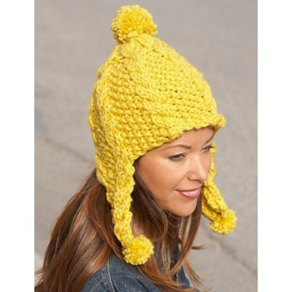 Golden Glow Earflap Hat in Bernat Softee Chunky | Knitting Patterns ...