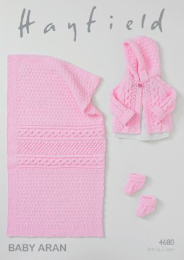 Jacket, Bootees and Blanket in Hayfield Baby Aran - 4680- Downloadable PDF