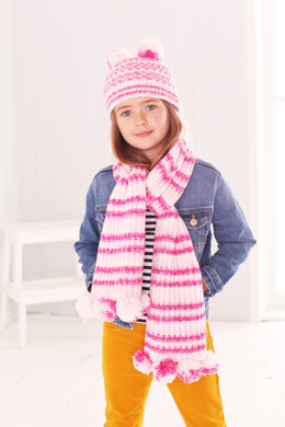 Childrens Jacket, Scarf, and Hat in King Cole Stripe DK in King Cole - 5595 - Leaflet