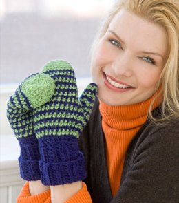 Crochet Mittens for All in Red Heart Super Saver Economy Solids - WR2166,LW2166