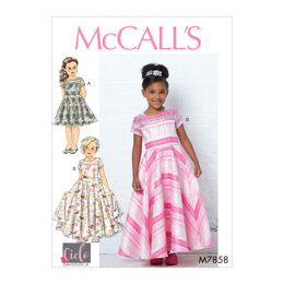 McCall's Children's/Girls' Dresses, Train and Bow M7858 - Sewing Pattern
