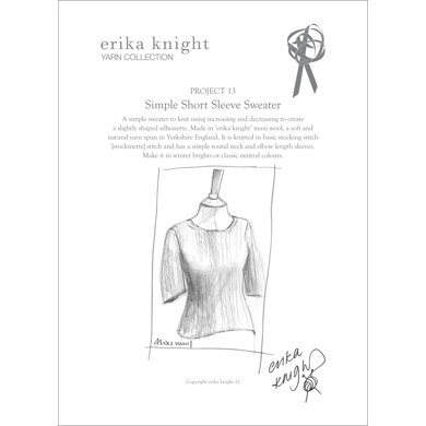 Simple Short Sleeve Sweater in Erika Knight Maxi Wool