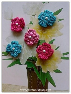 4 Petals Crochet Flower Pattern Applique For Christmas Valentine