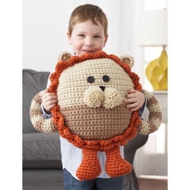 Huggable Lion Pillow in Bernat Softee Chunky