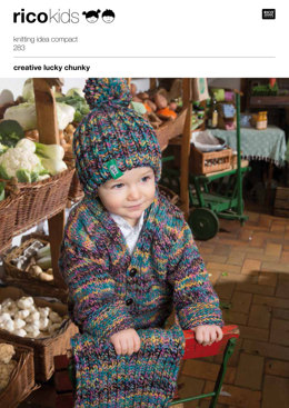 Cardigan, Hat & Scarf in Rico Creative Lucky Chunky - 283