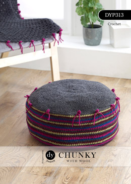 Crochet Pouffe with Polka-Dot Edging in DY Choice Chunky With Wool - DYP313