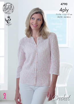 Cardigans in King Cole Giza Cotton Sorbet & Giza 4Ply - 4790 - Leaflet