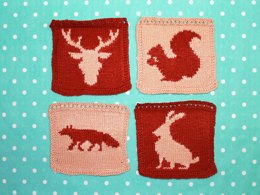 Woodland Animal Intarsia Squares