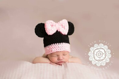Minnie Mouse Beanie Toddler Adult Crochet Pattern By First Twin