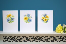 Vervaco Blue & Yellow Flowers Card Set (3pcs) Cross Stitch Kit - 10.5cm x 15cm