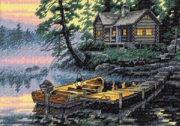 Dimensions Morning Lake Cross Stitch Kit - 18cm x 13cm