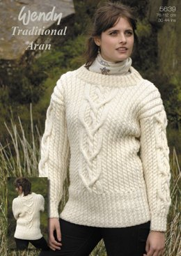 Interlace Cable Sweater in Wendy Traditional Aran (5639)